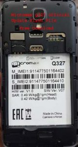 Micromax Q327 Official Update Firmware Flash File