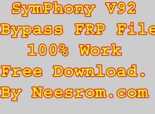 Symphony V92 Bypass FRP Reset File Without Password